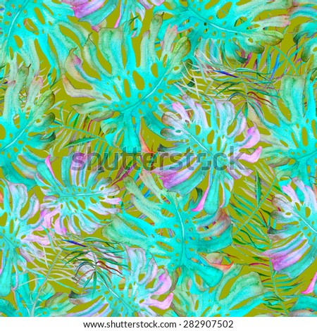 Beautiful watercolor seamless pattern with monstera, palm and frangipani. Tropical flowers and leaves pattern. - stock photo