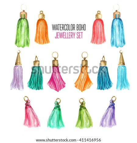 Beautiful watercolor set of jewelry items. Hand drawn accessories. - stock photo