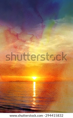 Beautiful watercolor sunset over the sea in Asia on the tropical island - stock photo