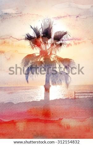 Beautiful watercolor tree on sea sunset - stock photo