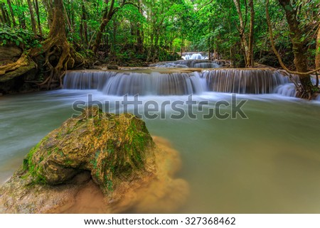 Beautiful waterfall huay mae khamin  in Kanchanaburi province,Thailand - stock photo