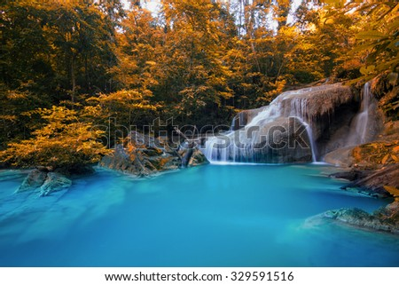 Beautiful waterfall in autumn forest, Kanchanaburi province, Thailand  - stock photo
