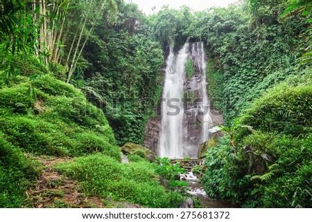 Beautiful Waterfall in Bali - stock photo