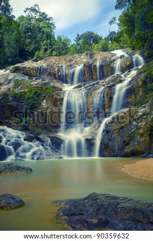 Beautiful waterfall in Pahang, Malaysia. - stock photo