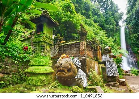 Beautiful waterfall in rainforest. Bali - stock photo