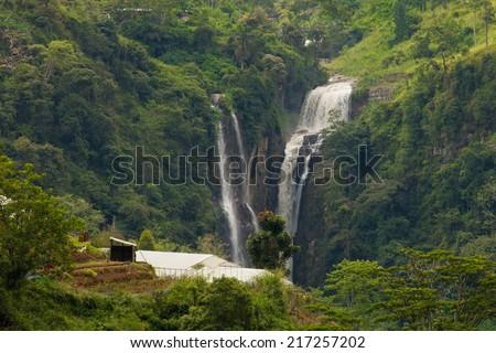 Beautiful waterfall in Sri Lanka - stock photo