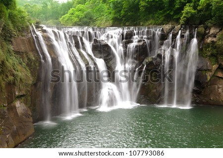 beautiful waterfall in Taiwan - stock photo