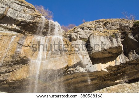 Beautiful waterfall in the Gran Sasso e Monti della Laga National Park