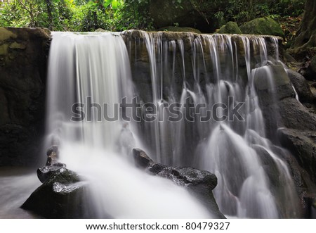 Beautiful waterfall in the jungle, Koh Samui island, Thailand - stock photo
