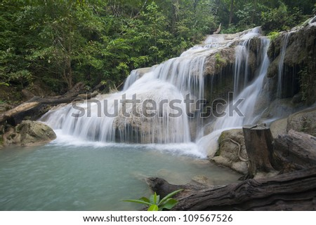 beautiful waterfall in the National Park Thailand.