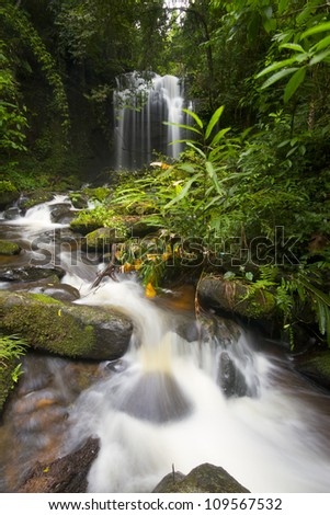 beautiful waterfall in the National Park Thailand. - stock photo