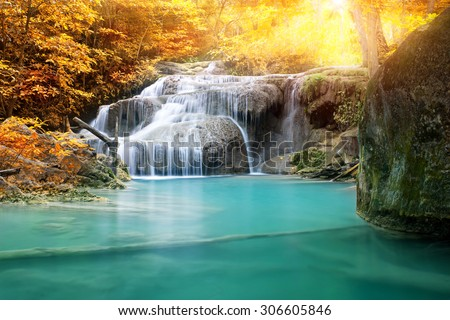 beautiful waterfall in tropical forest  - stock photo