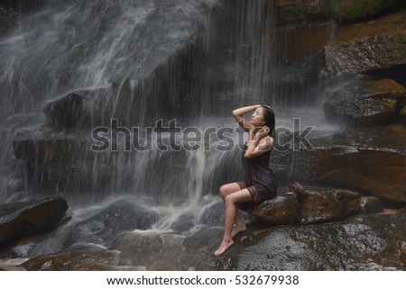 Beautiful Waterfall Shower Stock Photo Royalty Free 532679938