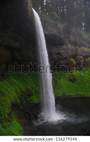 Beautiful waterfall: Silver Falls in Oregon - stock photo