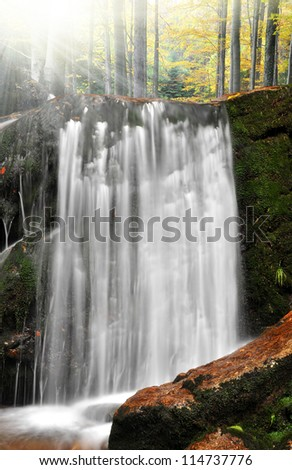 beautiful waterfalls in the Bavarian Forest-Germany - stock photo