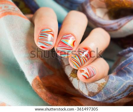 Beautiful Watermarble Nail Art Design Manicure Stock Photo Royalty