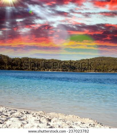 Beautiful waters of Lake McKenzie at dusk. Fraser Island, Australia. - stock photo