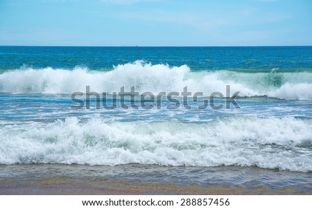 Beautiful waves on paradise beach in Southern Province, Sri Lanka, Asia in December. - stock photo