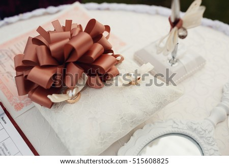 Beautiful Wedding Accessories Decorations On Table Stock Photo Edit