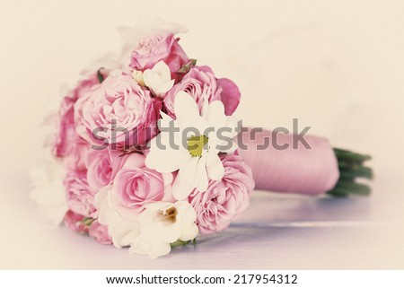 Beautiful wedding bouquet on light background