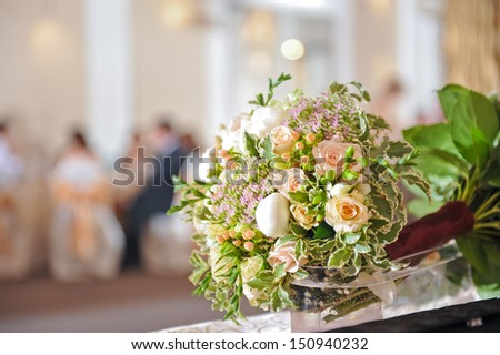 Beautiful wedding bouquet with roses
