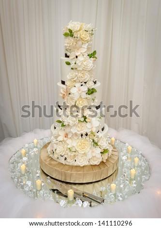 Beautiful wedding cake - stock photo