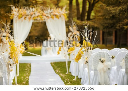 Beautiful wedding ceremony in forest. Indian summer color effect.  - stock photo