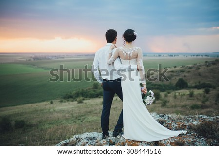 Beautiful wedding day, love on the sunset