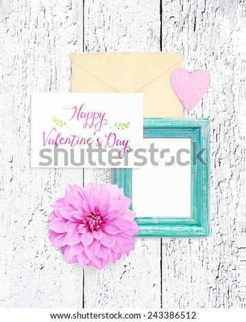 Beautiful wedding decorations on a wooden background - stock photo
