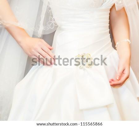 Beautiful wedding dress. Close-up - stock photo