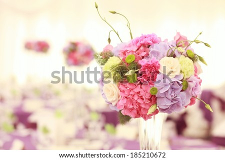 Beautiful wedding flower decoration - stock photo