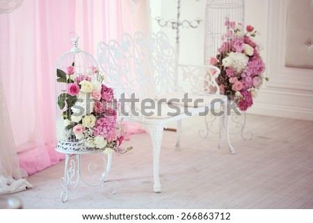 Beautiful wedding flowers in restaurant - stock photo