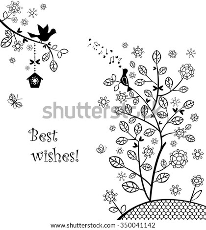 Beautiful wedding greeting with blossoming spring tree - stock photo