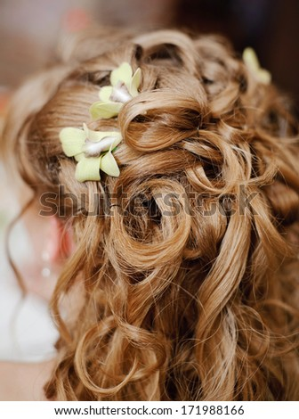 beautiful wedding hairstyle with flowers - stock photo