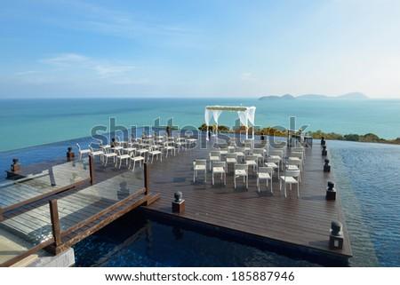 Beautiful wedding set up in Phuket Thailand - stock photo