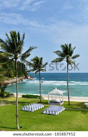 Beautiful wedding set up in Phuket Thailand from top of view - stock photo