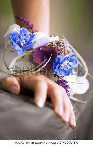 beautiful wedding wrist corsage - stock photo