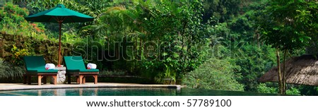 Beautiful wellness area and swimming pool in luxury resort. - stock photo