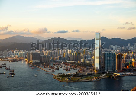 Beautiful West Kowloon sunset - stock photo