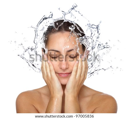 Beautiful wet woman face with water drop. Close-up portrait on white background - stock photo