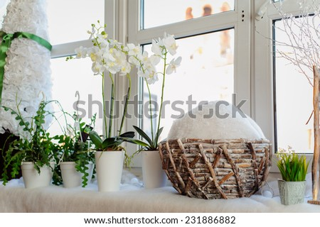 beautiful white and snowy christmas holiday decorations - stock photo
