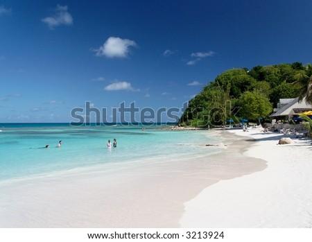 Beautiful white caribbean beach - stock photo