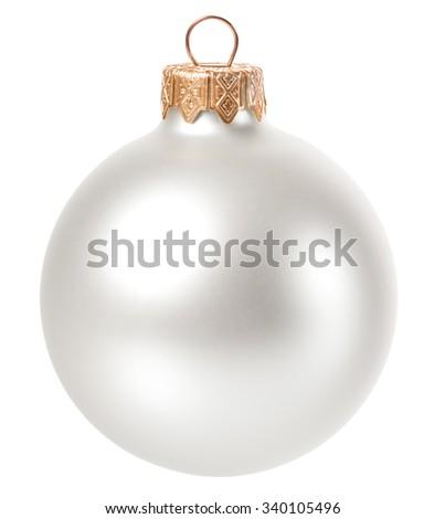 beautiful white christmas ball isolated  - stock photo
