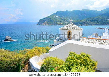 Beautiful white church above Chora on Skopelos island, Greece - stock photo