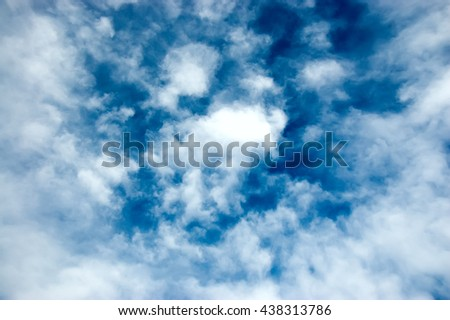 beautiful white clouds against the blue sky - stock photo