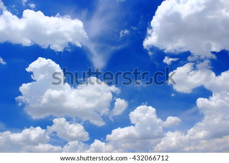 Beautiful White clouds on the blue sky background