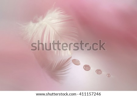 Beautiful white feather with drops on a blurred background of pink. - stock photo