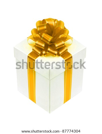 Beautiful white gift box with golden ribbon bow isolated on white