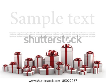 Beautiful white gift boxes with red ribbon isolated on white background 3D render ( high resolution ) - stock photo