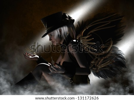 Beautiful white-haired female dressed in a black Steampunk corset, skirt and hat  with clockwork wings of metal and feather, holding a clockwork dragonfly .